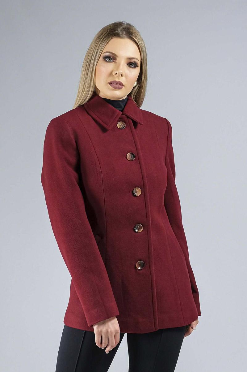 Casaco de Lã Premium Zurique Acinturado Bordô Ref. 3563