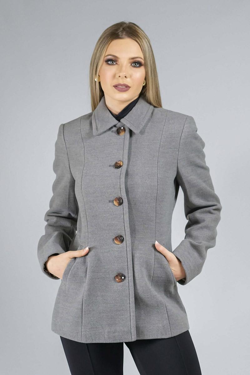Casaco de Lã Premium Zurique Acinturado Cinza Ref. 3563