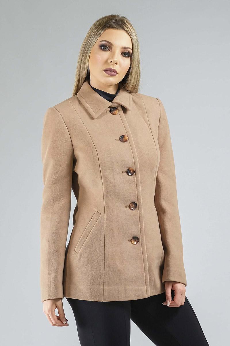 Casaco de Lã Premium Zurique Acinturado Nude Ref. 3563