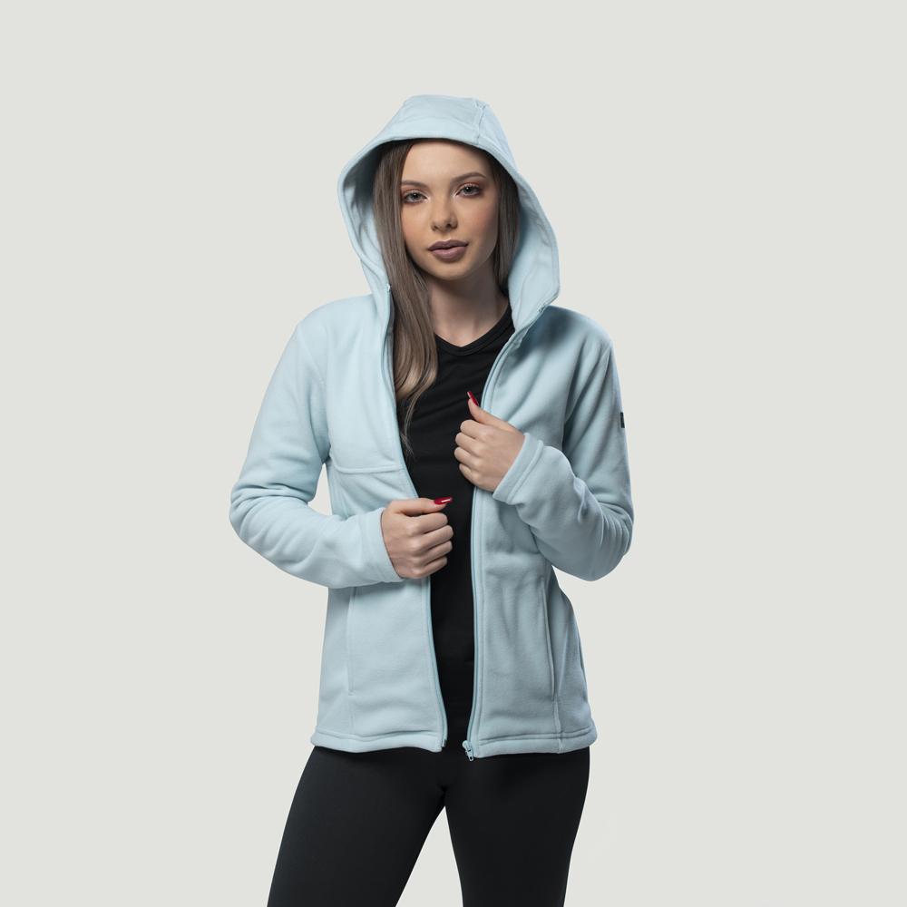 Casaco Fleece Térmico Cold Com Capuz Azul Ref. 643