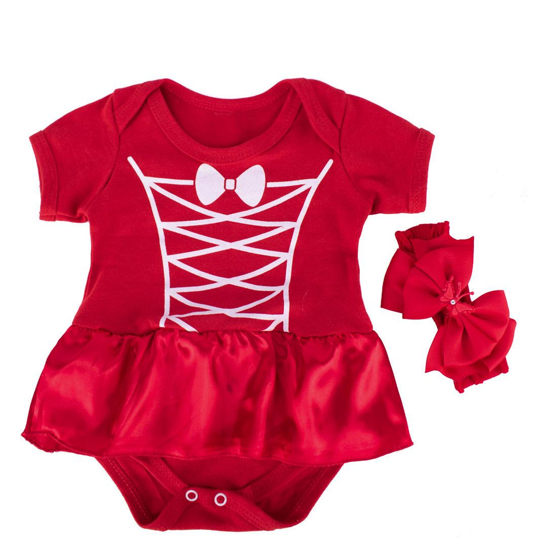 Body Bebê Menina Chapeuzinho Vermelho Com Laço e Saia