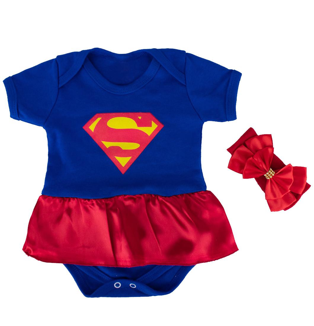 Body Bebê Menina Mulher Maravilha Com Saia e Laço