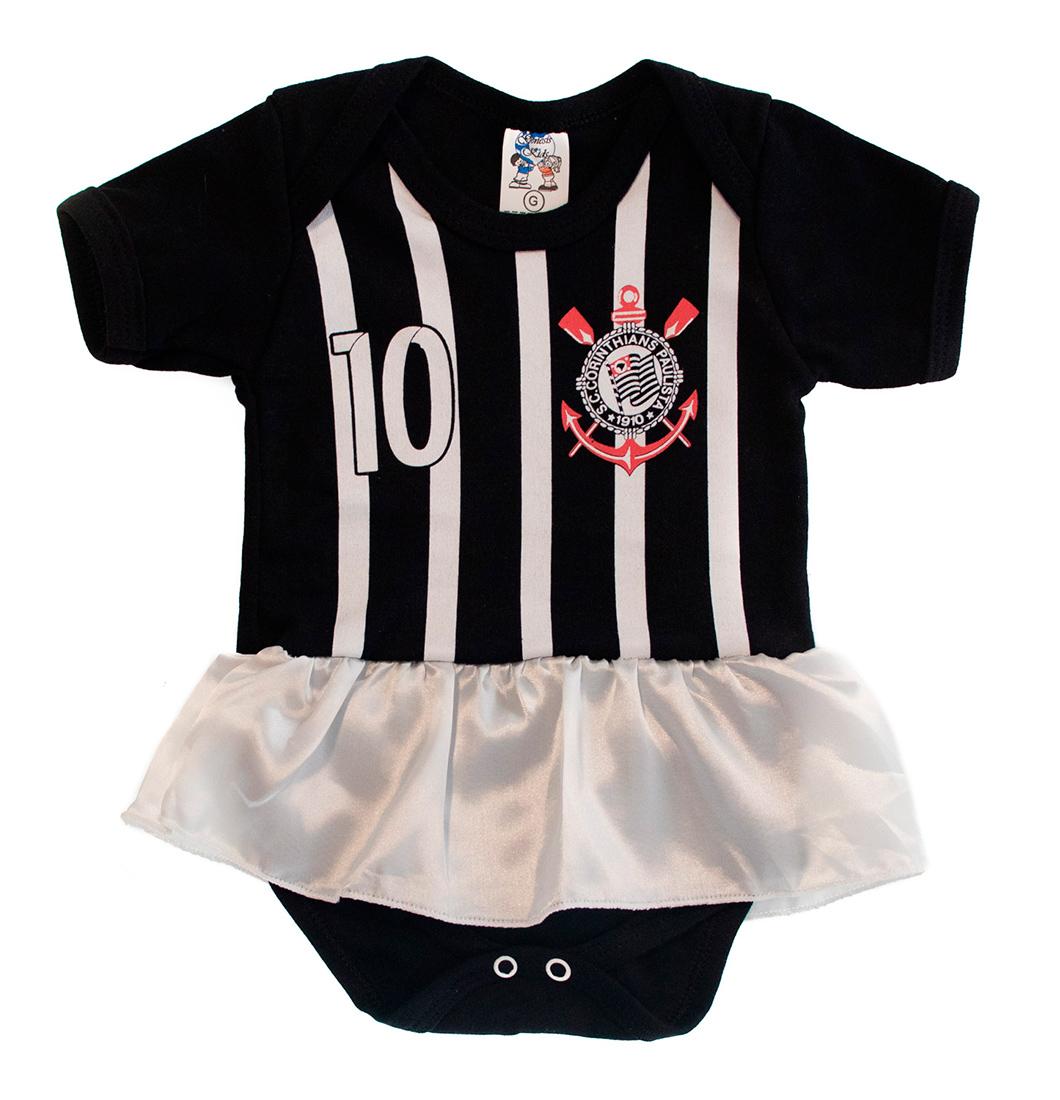 Body Bebê Menina Time Corinthians com Saia