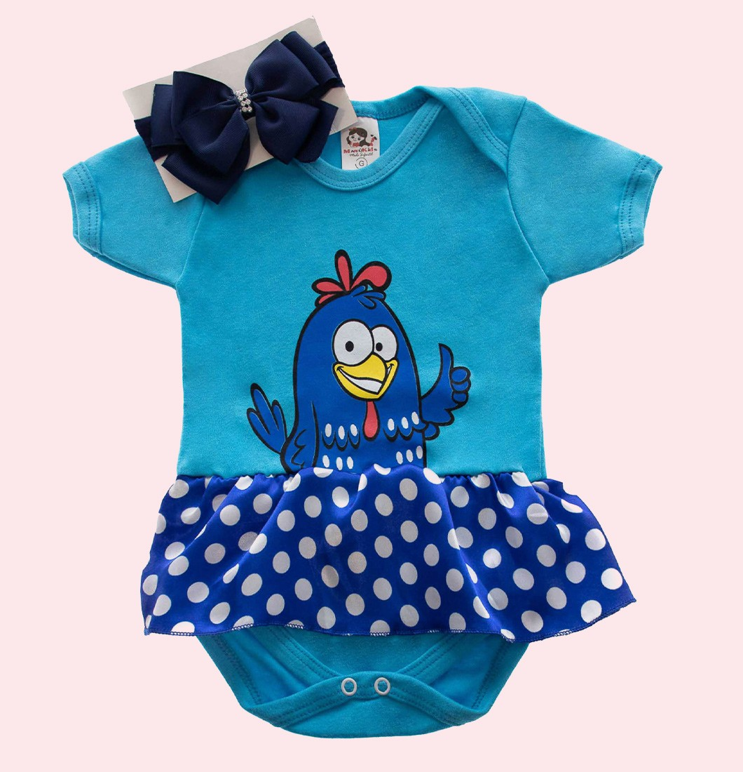 Body Bebê Personagem Galinha Pintadinha com laço