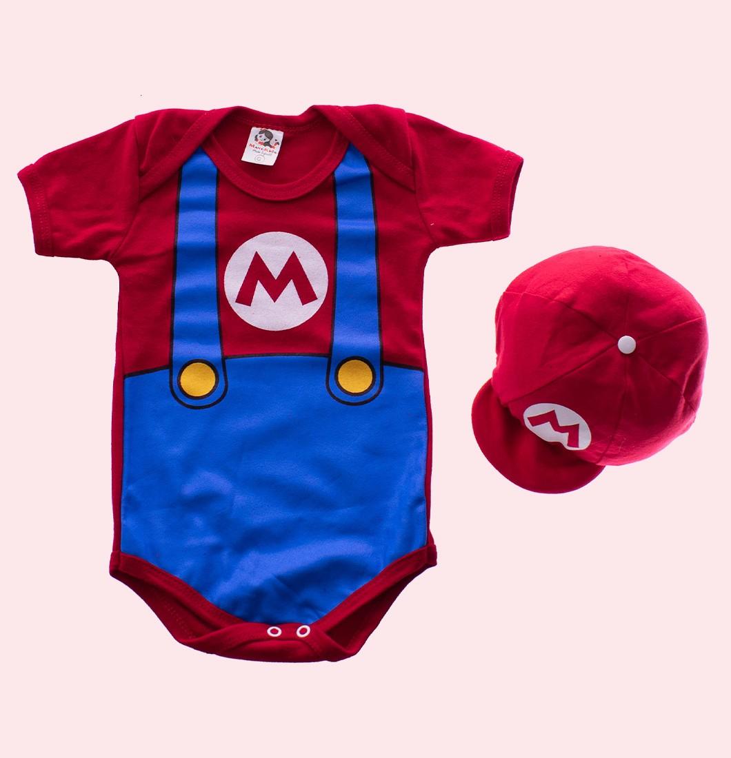 Body Bebê Super Mario Personagem com Boina