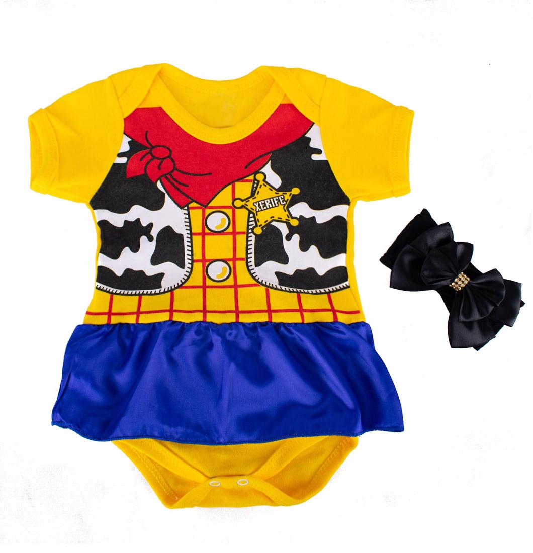 Body Bebê Toy Story Menina Jessie Com Saia e Laço