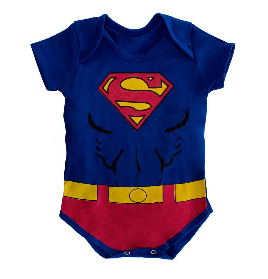 Body de Bebê Menino Super Homem Com Capa