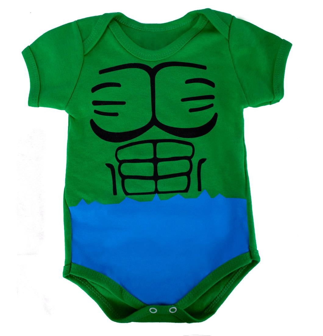 Body Infantil Bebê Menino Fantasia do Hulk