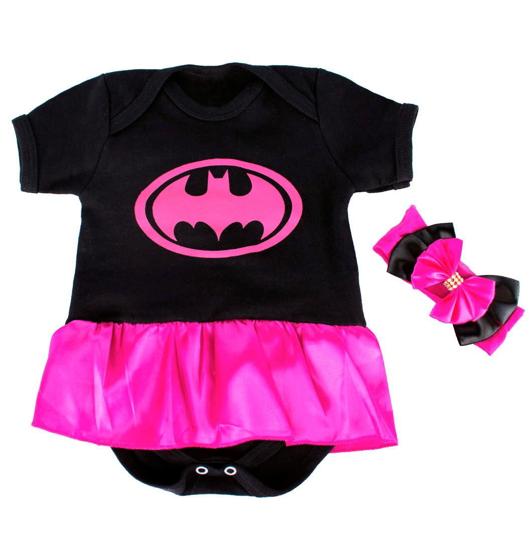 Body Infantil Menina Mesversário Batgirl Com Laço