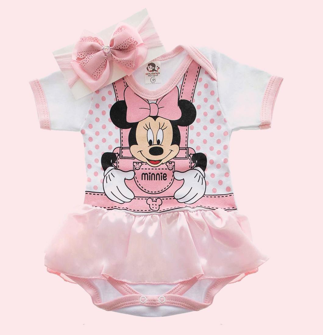 Body Bebê Menina Infantil Minnie Com Saia e Laço