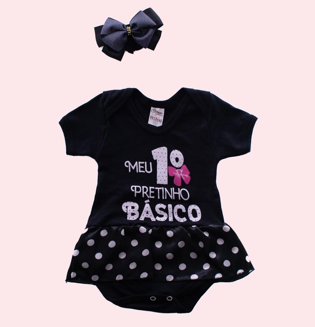 Body Vestido De Bebê MEU 1º PRETINHO BÁSICO