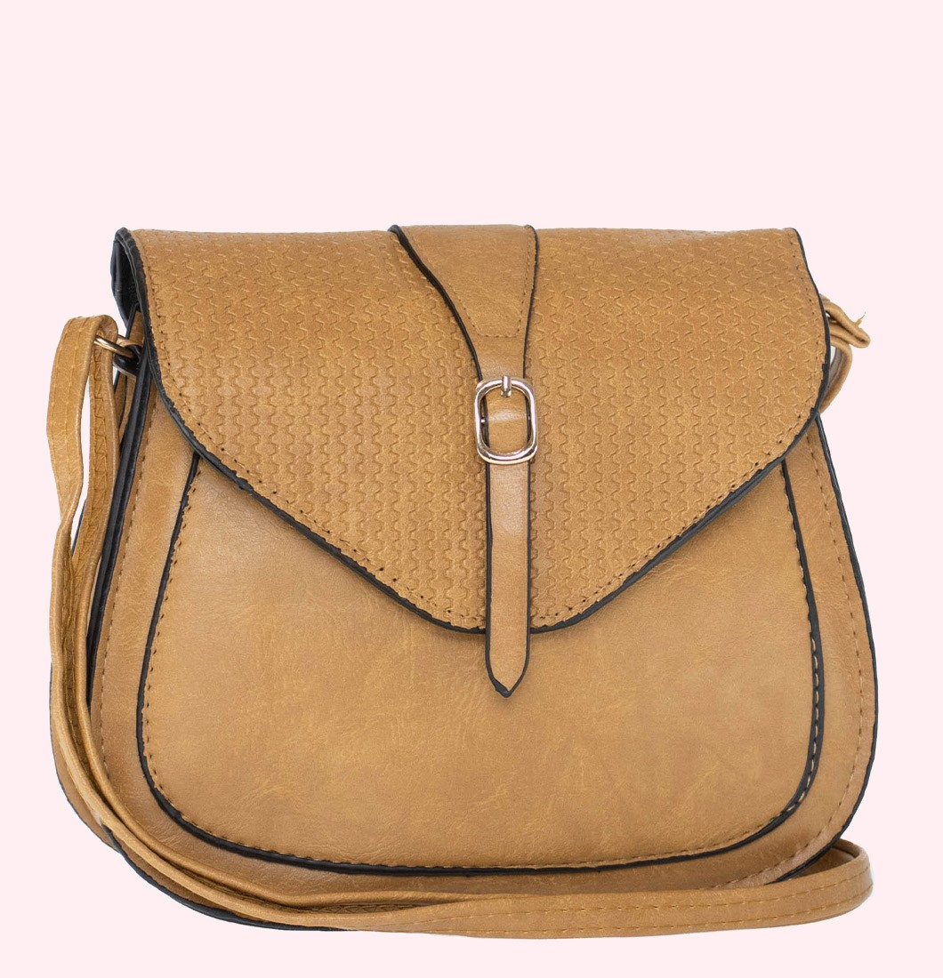 Bolsa Lateral Pequena Com Textura e Fivela