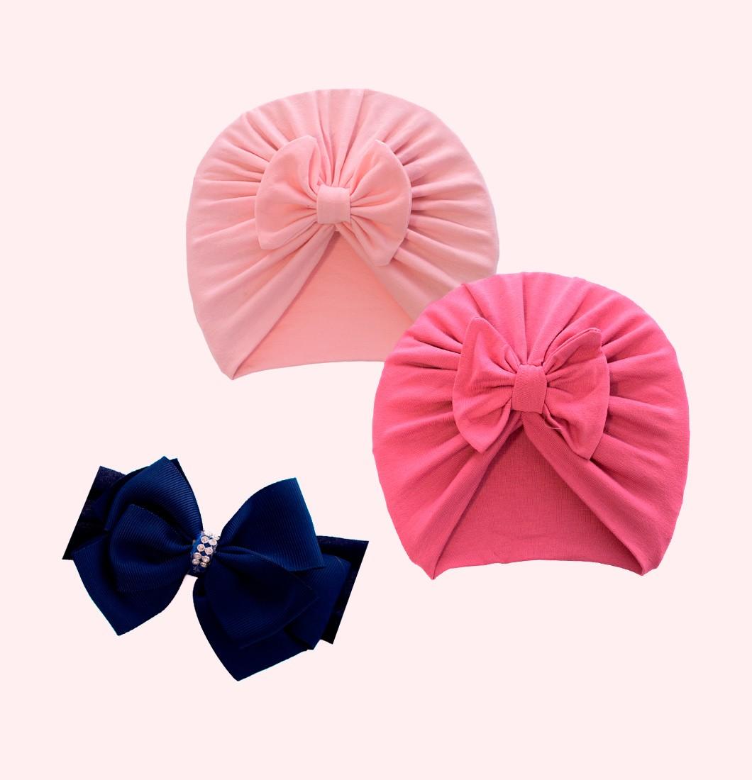 Kit Dois turbantes Uma Faixa de Laço