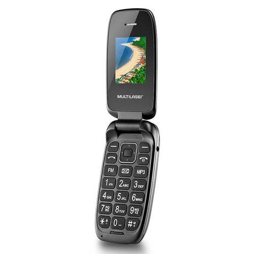 Celular Multilaser Flip Up Dual Chip, Câmera, MP3, Rádio FM, Bluetooth, Lanterna, Preto - P9022