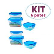 Kit 2 Conjuntos de Pote Hermético c/gel Quadrado Cool Gear
