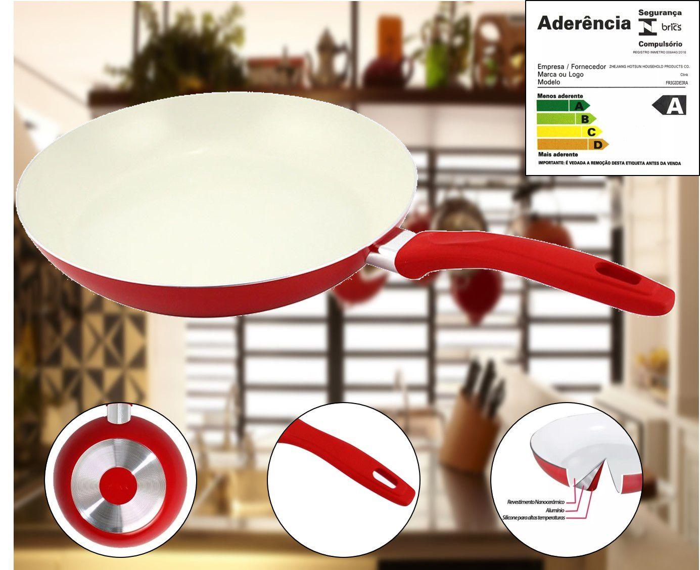 Frigideira de Aluminio revestida em Cerâmica 28CM - Série Cozinha Saudável - Vermelha