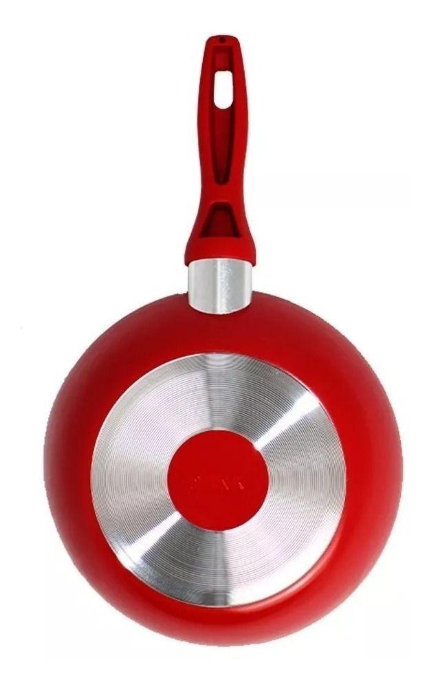 Kit 2 Frigideiras de Alumínio revestida em Cerâmica 20cm+24cm - Vermelha