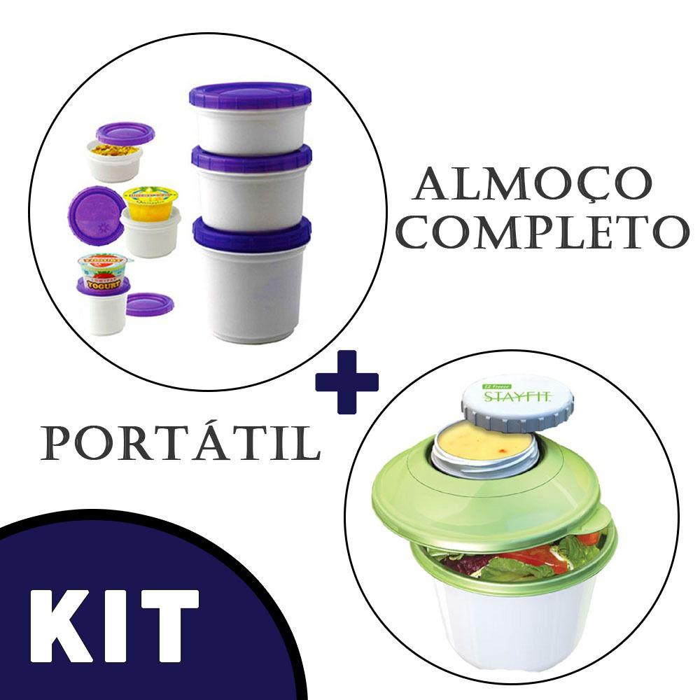 Pote Iogurte + Tapoer Marmita Gel Termico Verde Ermetico
