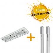 Combo 1 Luminária de Embutir com 2 Lâmpadas tubulares de LED 20W Bivolt 6.000k