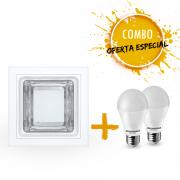 Combo 1 Luminária de embutir quadrada com 2 Lâmpadas LED A60 9,5W Bivolt luz branca