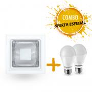 Combo 1 Luminária embutir quadrada com 2 Lâmpadas LED A60 9,5W Bivolt luz branca