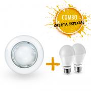 Combo 1 Luminária embutir redonda Ø160mm com 2 Lâmpadas LED A60 9,5W Bivolt luz branca