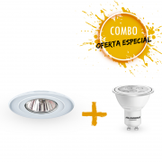 Combo 1 Spot de  alumínio branco Ø104mm com 1 Lâmpada LED Dicroica 7W Bivolt luz branca