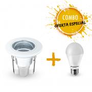Combo 1 Luminária Spot de embutir com 1 Lâmpada LED A60 9,5W Bivolt luz branca