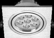 Spot led embutir quadrado 7W bivolt luz amarela 2.700k em alumínio metalizado