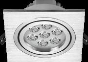 Spot led embutir quadrado 7W bivolt luz branca 6.500k em alumínio metalizado