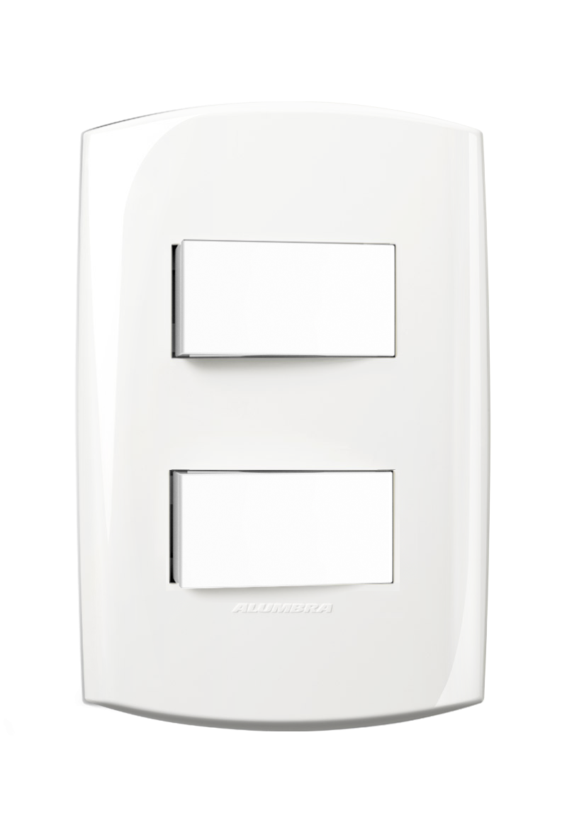 1 Interruptor Simples + 1 Paralelo  Com Placa 4X2 Distanciado  Branca 10A 250V~ Blisspro