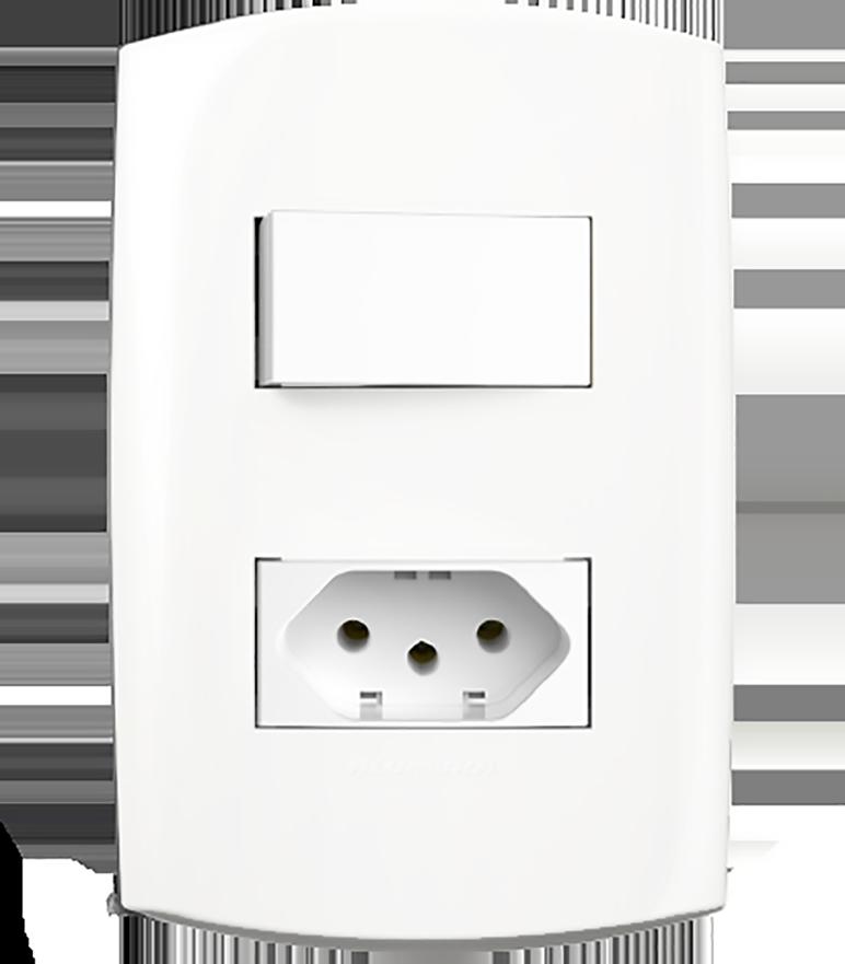 1 Interruptor Simples + 1 Tomada Padrão 10A Com Placa 4X2 Branco Blisspro