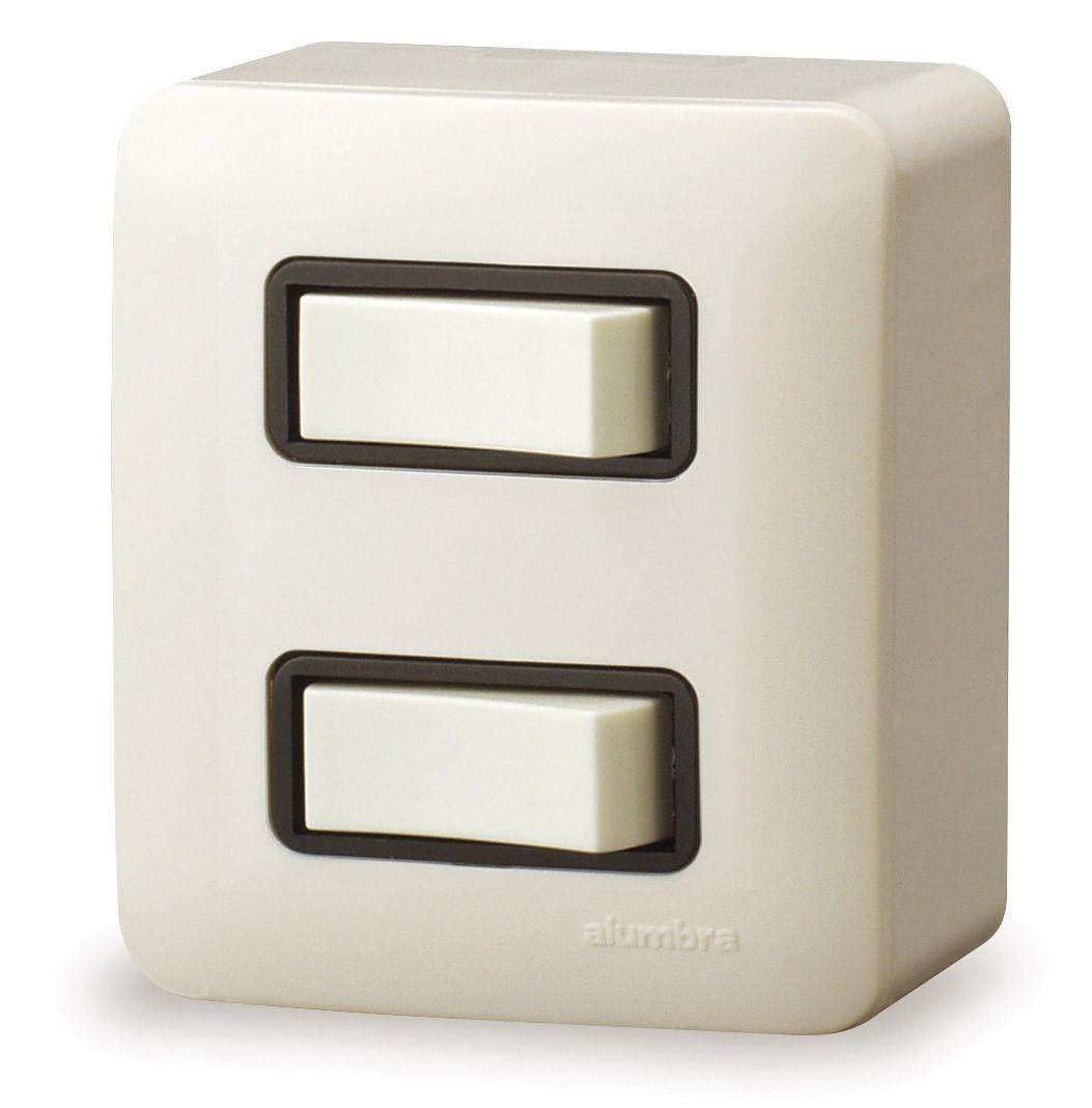 Conjunto De Sobrepor 1 Interruptor Simples + 1 Interruptor Paralelo  Elo Distanciados Com  Placa - Branco - Alumbra - Linha A