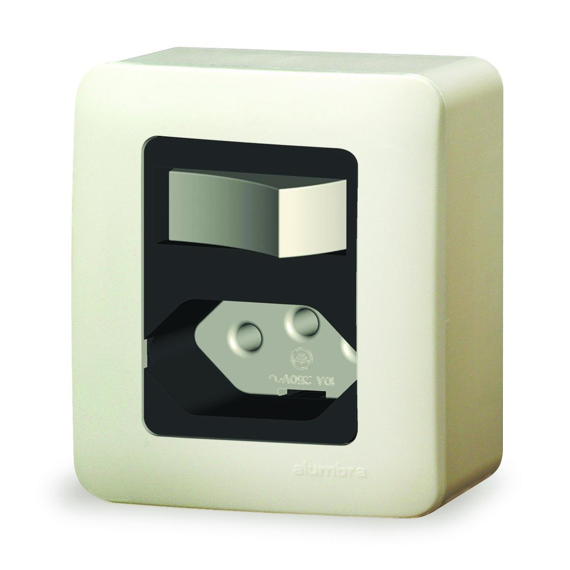 1  Interruptor Simples+Tomada 2P+T Padrão 10A Com Placa