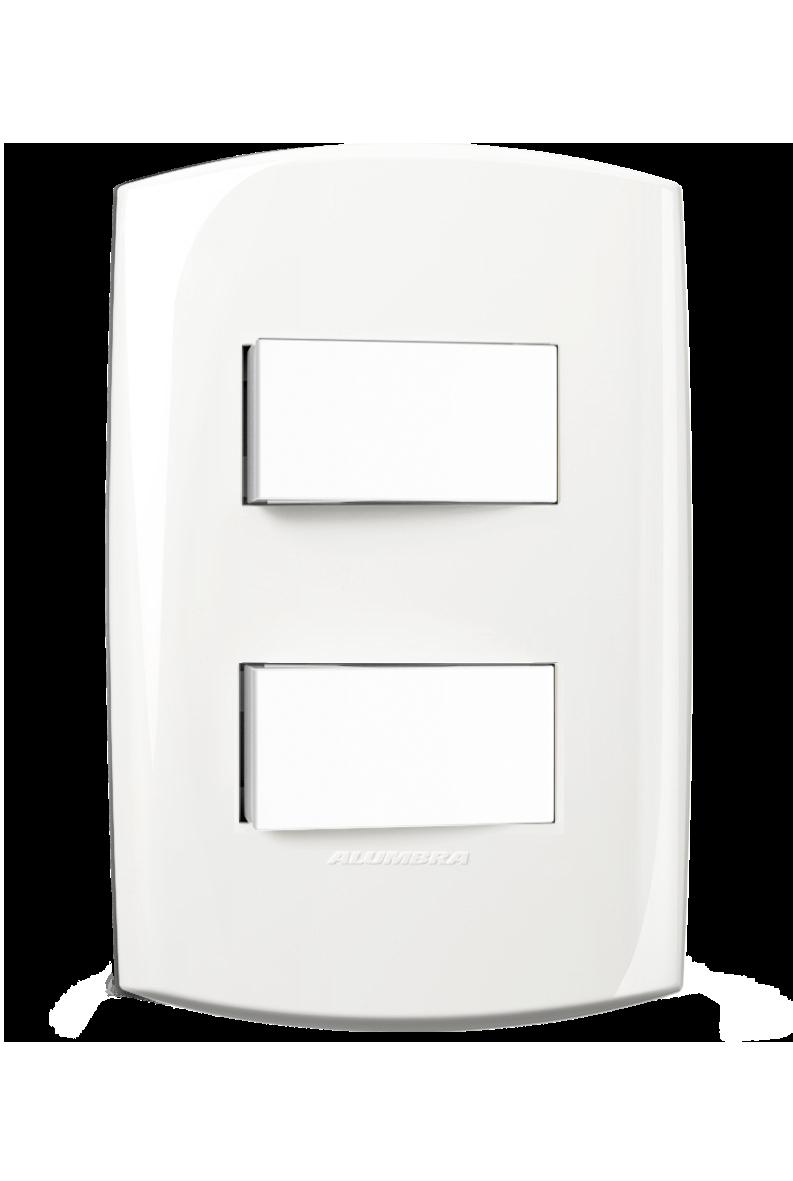 2 Interruptor Paralelo Com Placa 4X2 Distanciado   Branca 10A 250V~ Blisspro