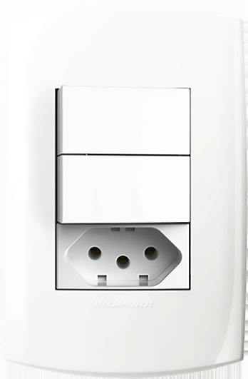 2 Interruptor Simples  + 1 Tomada Padrão 10A Com Placa 4X2 Branco Blisspro