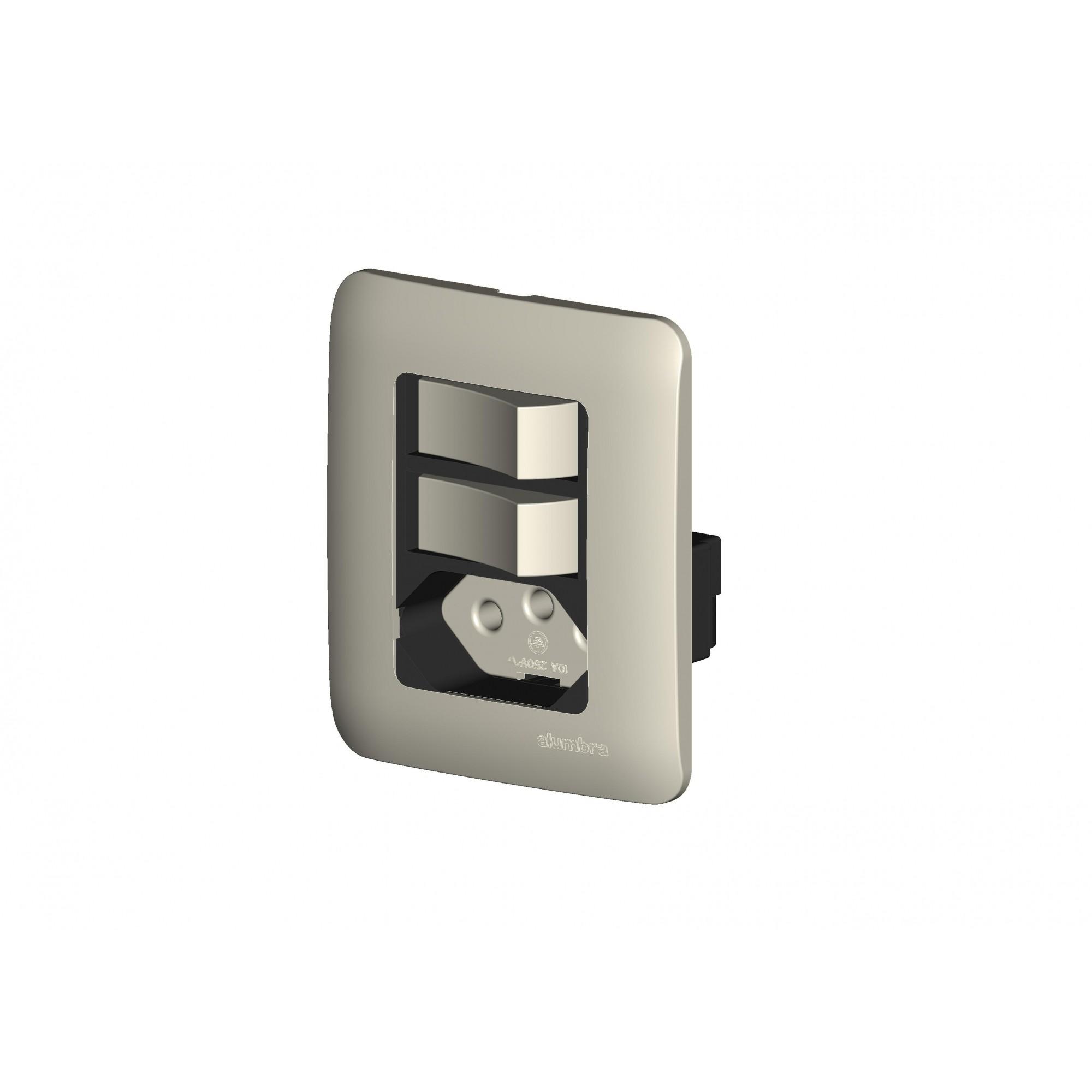 Conjunto De Sobrepor 2 Interruptores Simples + 1 Tomada 2P+T Com  Placa - Branco - Alumbra - Linha A