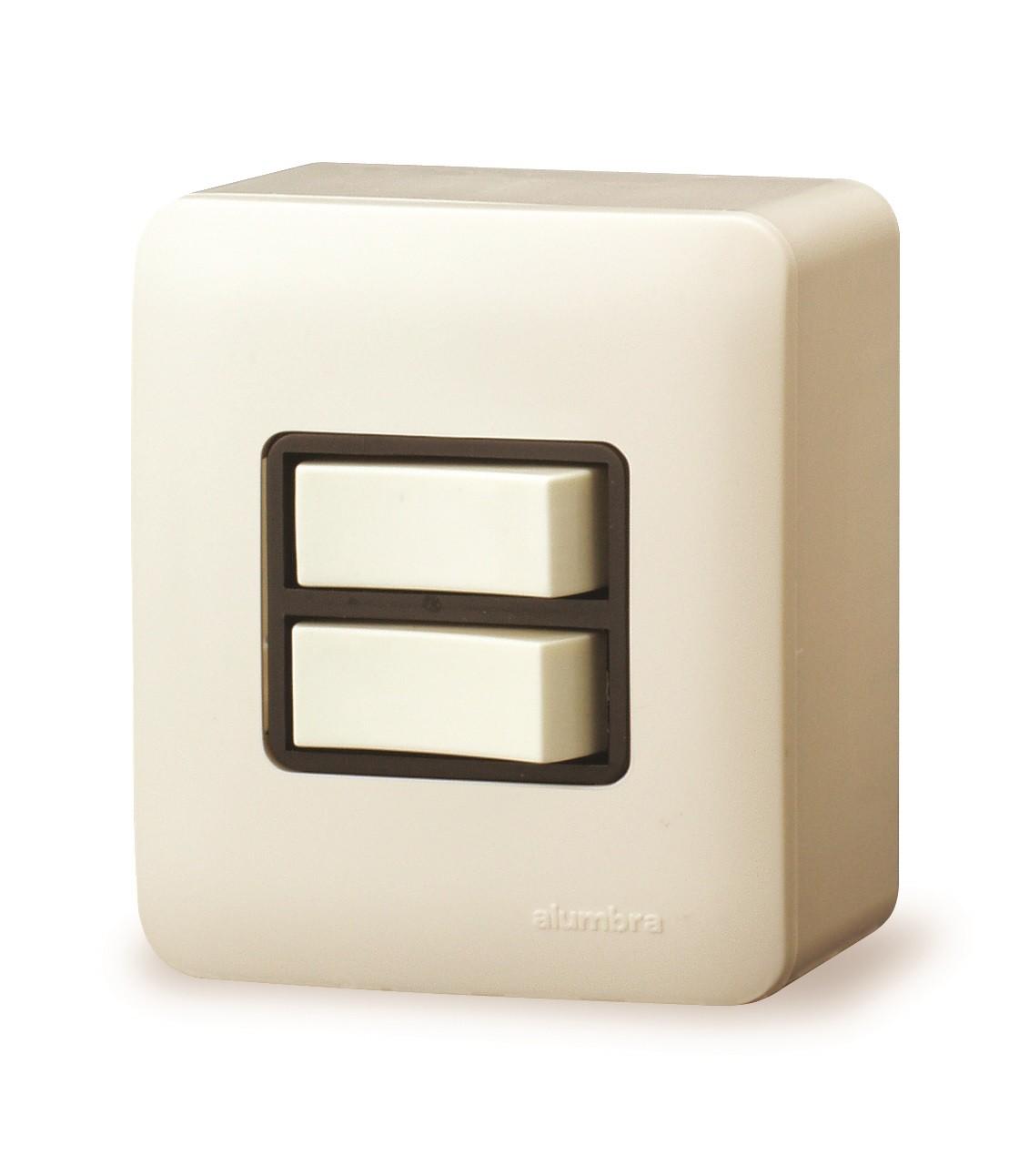 Conjunto De Sobrepor 2 Interruptores Simples Com  Placa - Branco - Alumbra - Linha A