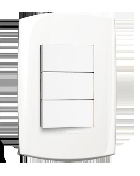 3 Interruptor Simples Com Placa 4X2 Branca 10A 250V Blisspro