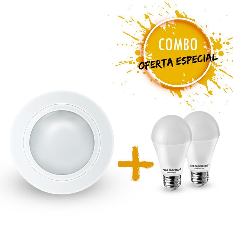 Combo 1 Luminária redonda de embutir Ø160mm com 2 Lâmpada LED A60 9,5W Bivolt luz branca
