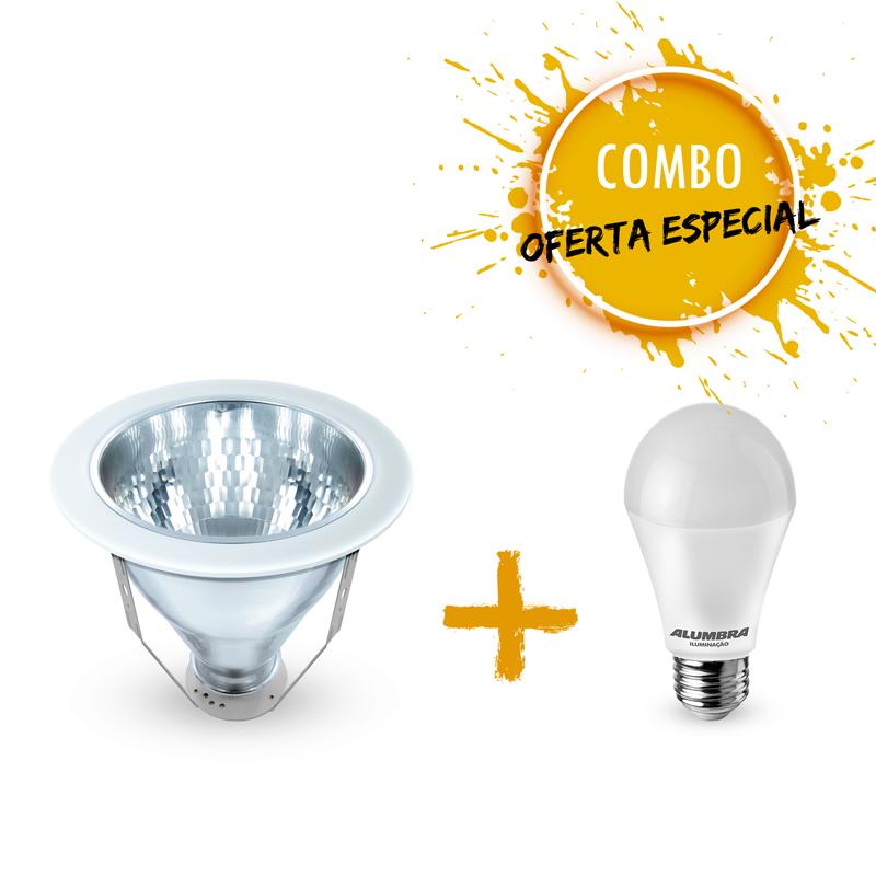 Combo 1 Luminária Spot  Ø238mm com 1 Lâmpada LED A65 15W Bivolt luz branca