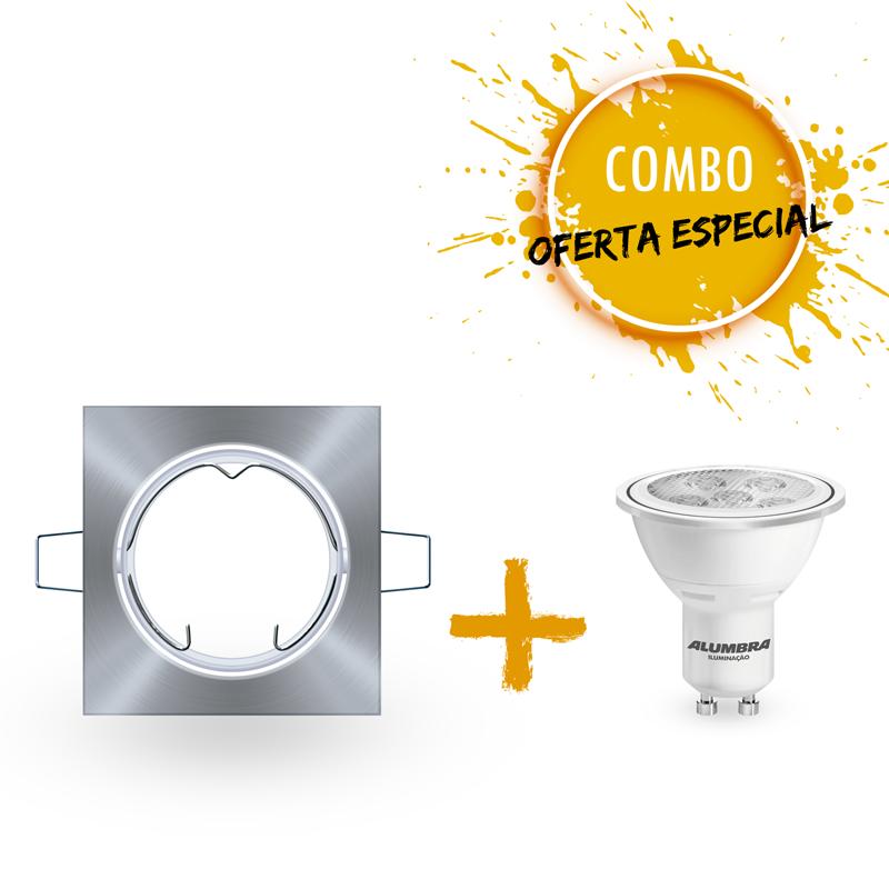 Combo 1 Spot de embutir de  alumínio metalizado com 1 Lâmpada LED Dicroica 7W Bivolt luz branca