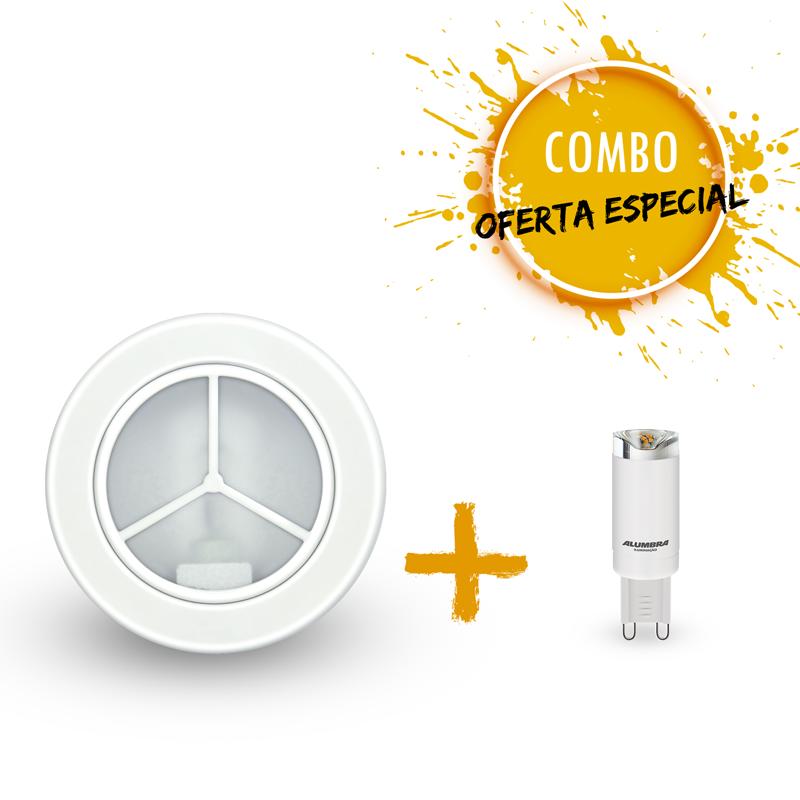 Combo 1 Luminária decorativa de embutir com 1 Lâmpada Halopin 2,5W 12 volts Luz amarela