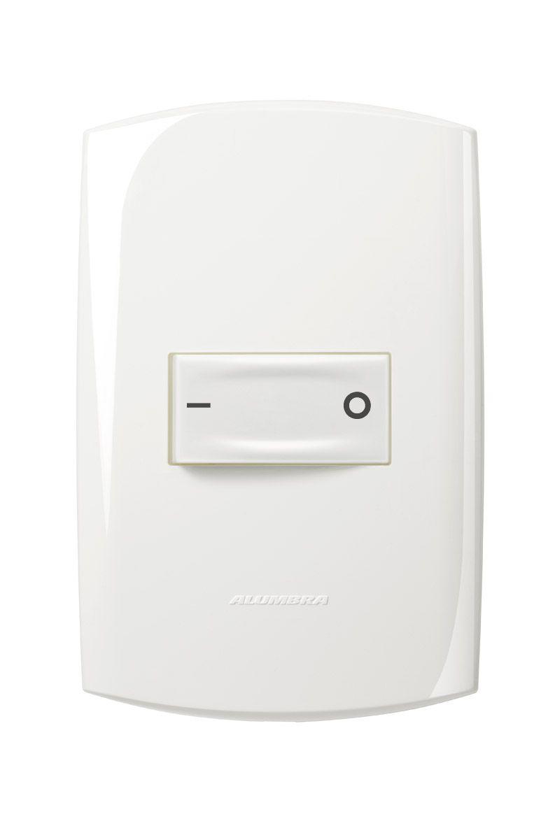 Conjunto 1 Interruptor bipolar simples 10A 250V com placa e suporte 4x2 Branca linha Bliss