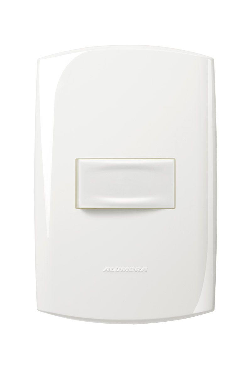 Conjunto 1 Interruptor simples 10A 250V com placa e suporte 4x2 Branca linha Bliss