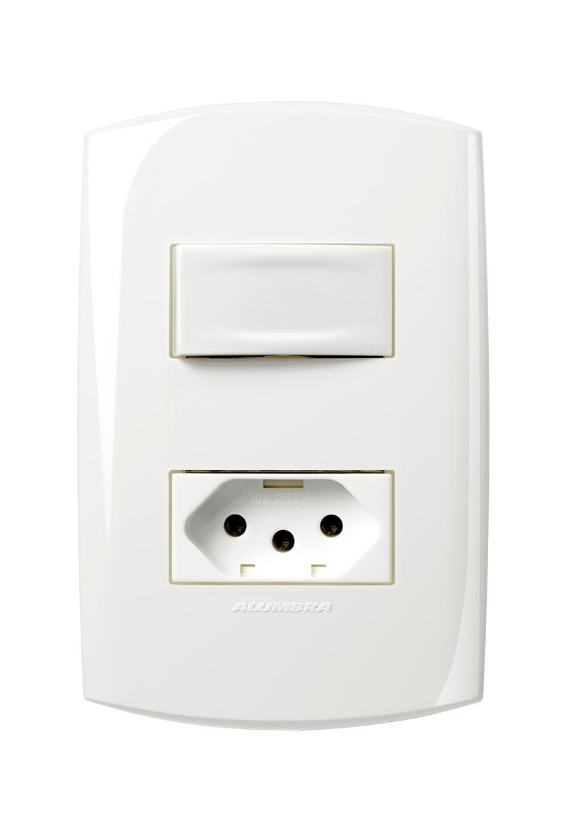 Conjunto 1 Interruptor simples + 1 Tomada 2P+T 10A 250V com placa e suporte 4x2 Branca linha Bliss