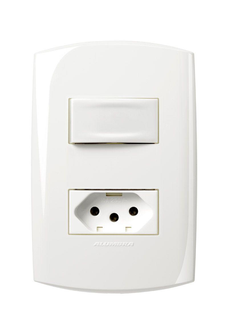 Conjunto 1 Interruptor simples + 1 Tomada 2P+T 20A 250V com placa e suporte 4x2 Branca linha Bliss