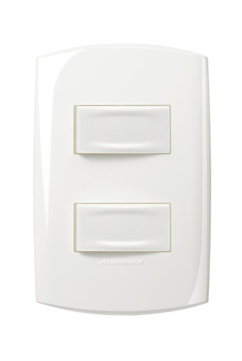 Conjunto 2 Interruptores simples 10A 250V com placa e suporte 4x2 Branca linha Bliss