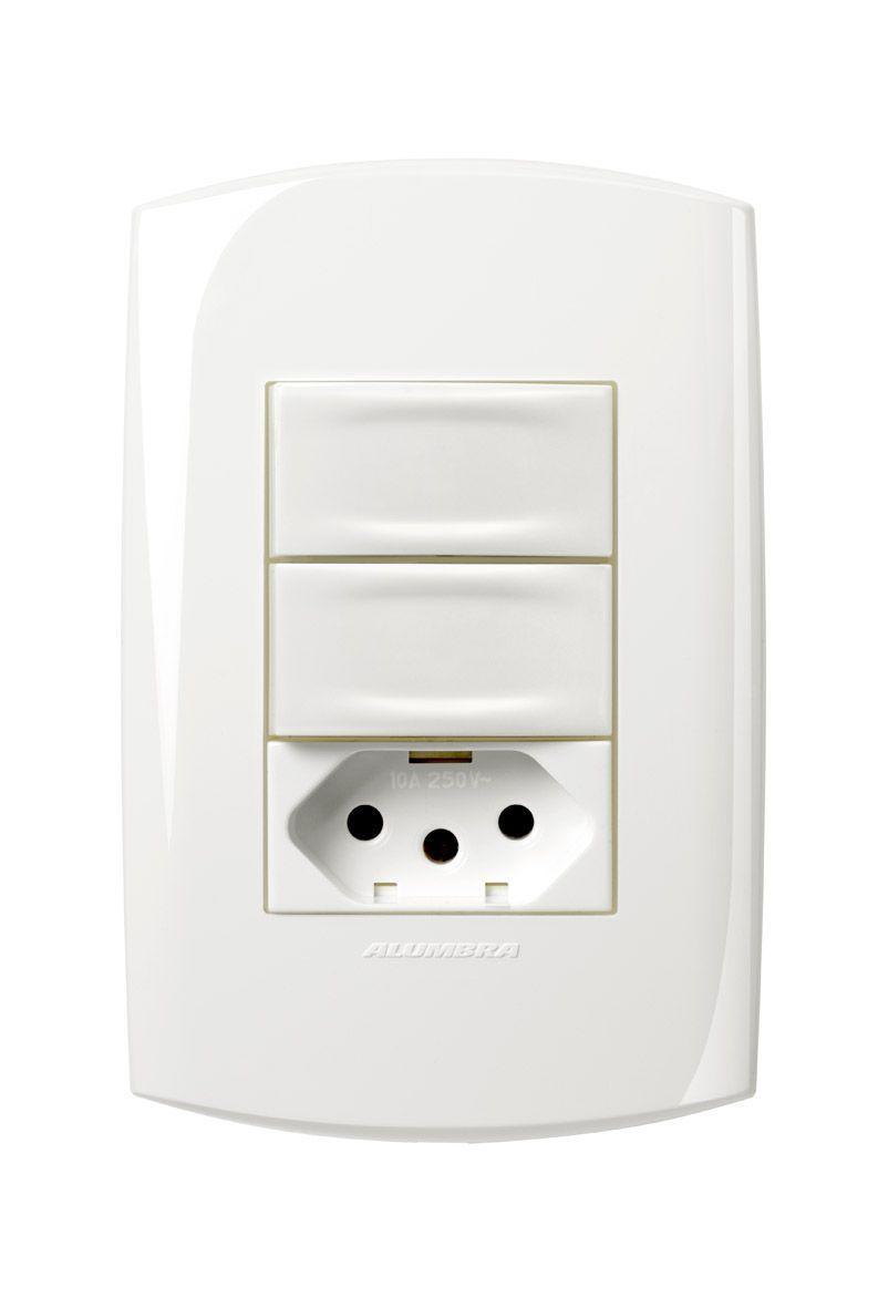Conjunto 2 Interruptores simples + 1 Tomada 2P+T 10A 250V com placa e suporte 4x2 Branca linha Bliss