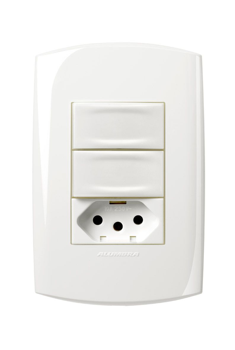 Conjunto 2 Interruptores simples + 1 Tomada 2P+T 20A 250V com placa e suporte 4x2 Branca linha Bliss